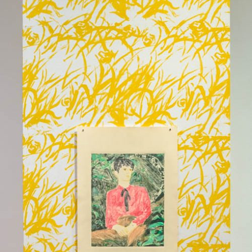 10-Ron Siu. The Middle Child, 2020. Monotype on paper over hand-printed wallpaper, image size 11 x 14 inches, paper size 15 x 22 inches