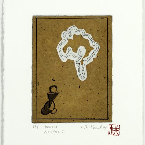 """17. """"Doodle (Variation 5)"""" by Alan R. Peachey. Etching and Chine collé, 11.5x7 5/8"""", 2017."""