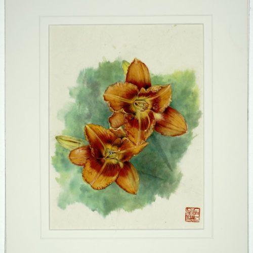 """76. """"Day Lillies"""" by Karen Logan. Chinese Brush painting, 16.75x13.75"""", 2018."""