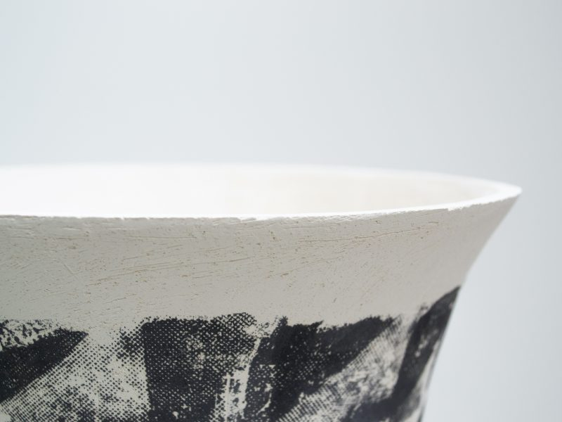 Hannah deJonge / Binding Rows (Rim Detail) - Screen-printed underglaze on stoneware 2020