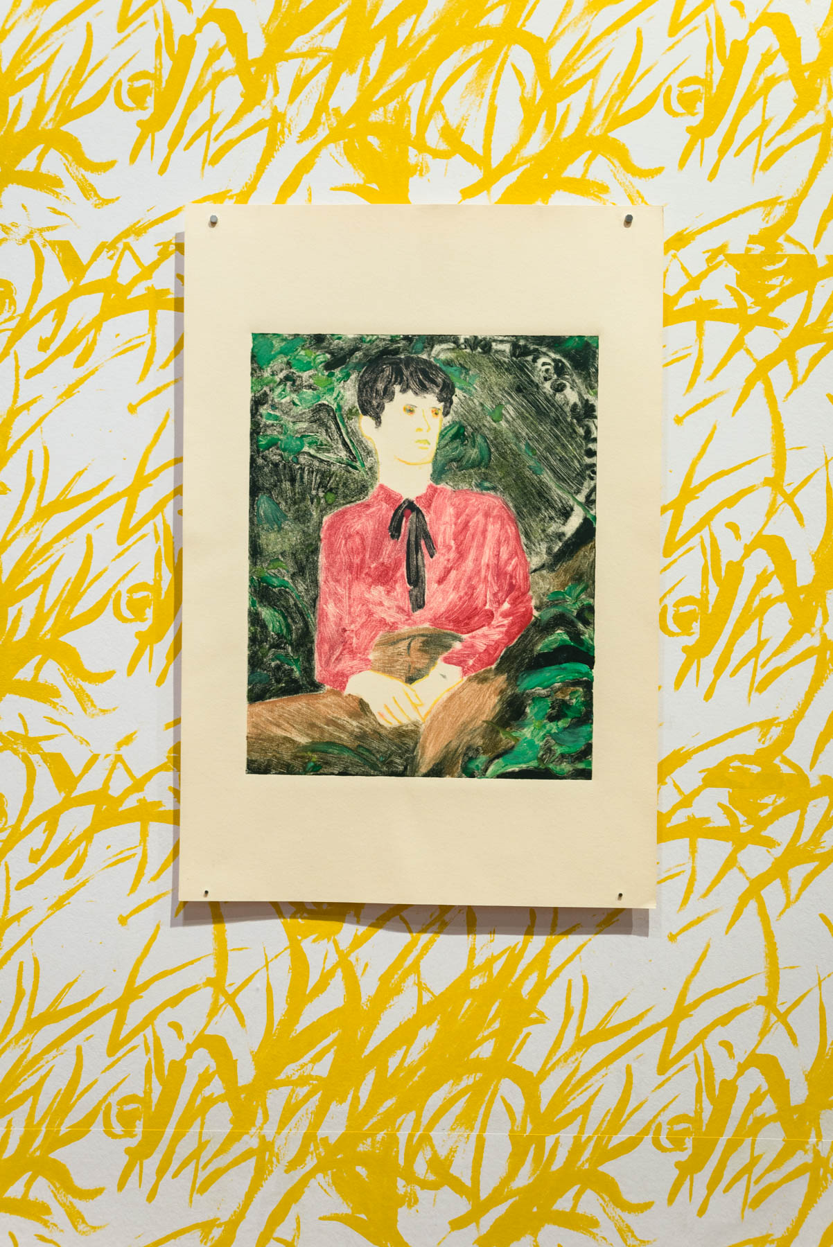 11-Ron Siu. The Middle Child, 2020. Monotype on paper over hand-printed wallpaper, image size 11 x 14 inches, paper size 15 x 22 inches