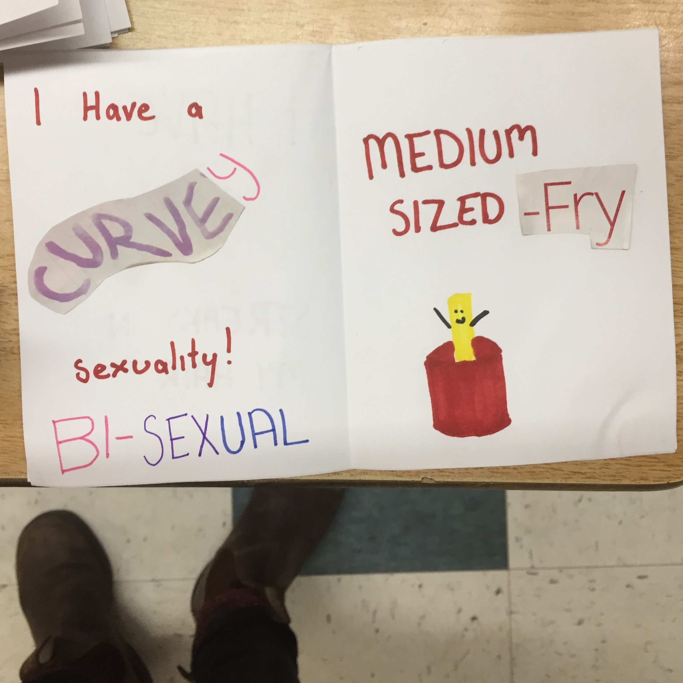 These are select images from students' zines made in-class, surrounding the topic of body image and what we like about ourselves.