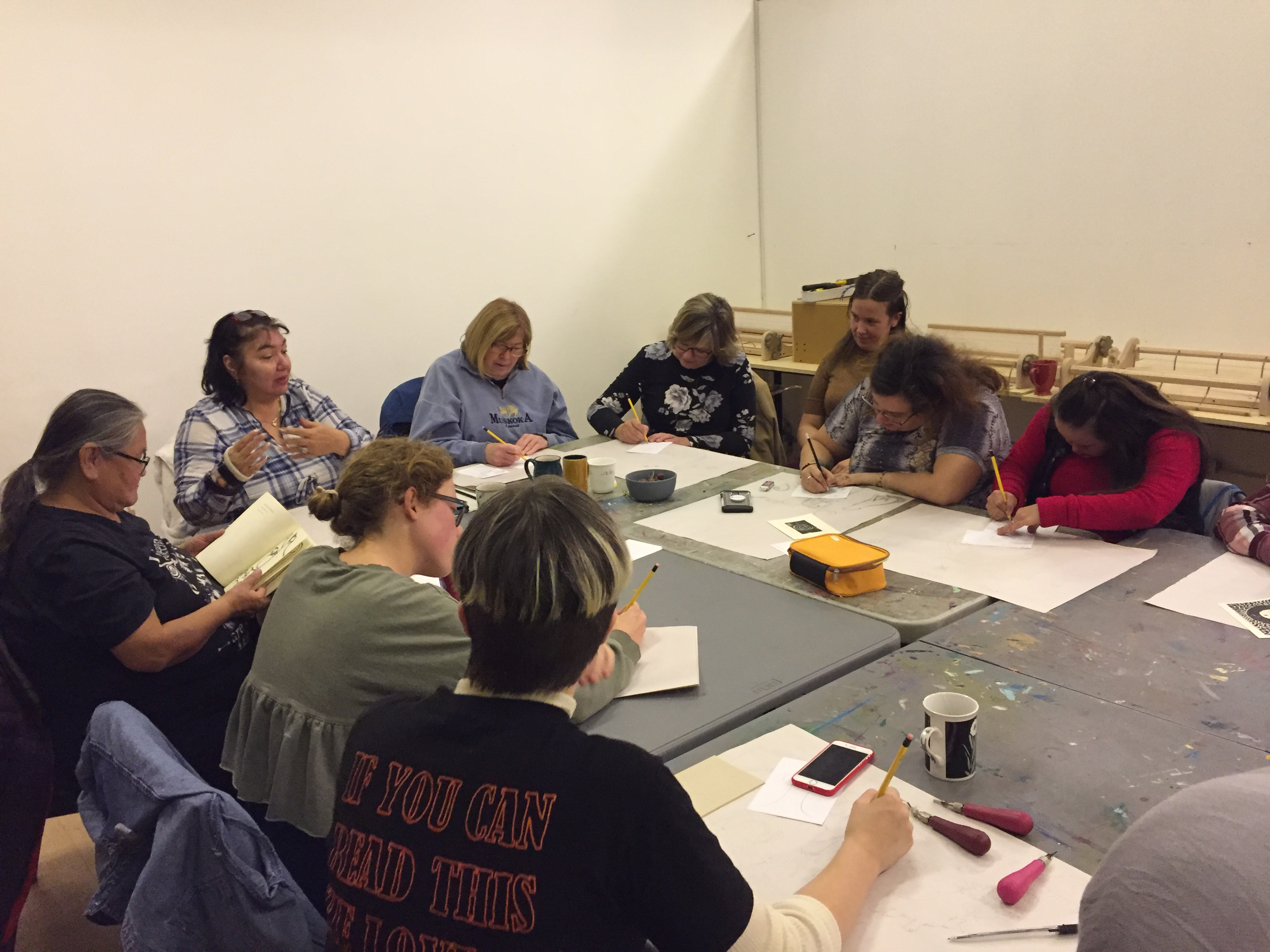 Feast Bag workshop participants sharing stories and drawing