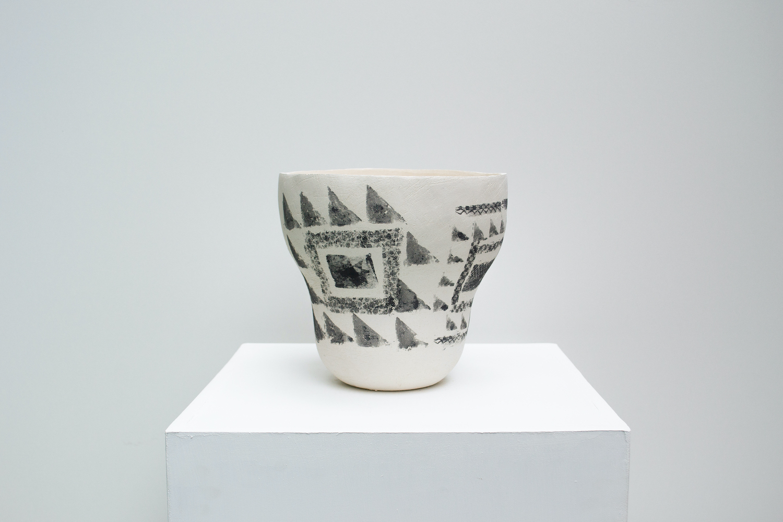 Hannah deJonge / Pattern Blocks (Front View) - Screen-printed underglaze on stoneware 2020