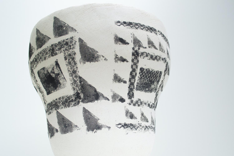 Hannah deJonge / Pattern Blocks (Detail) - Screen-printed underglaze on stoneware 2020