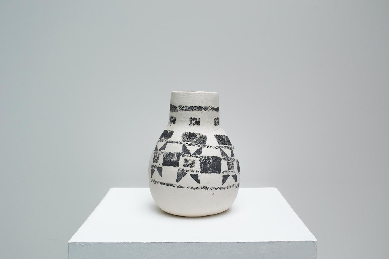 Hannah deJonge / To Sash and Bind (Front View) - Screen-printed underglaze on stoneware 2020