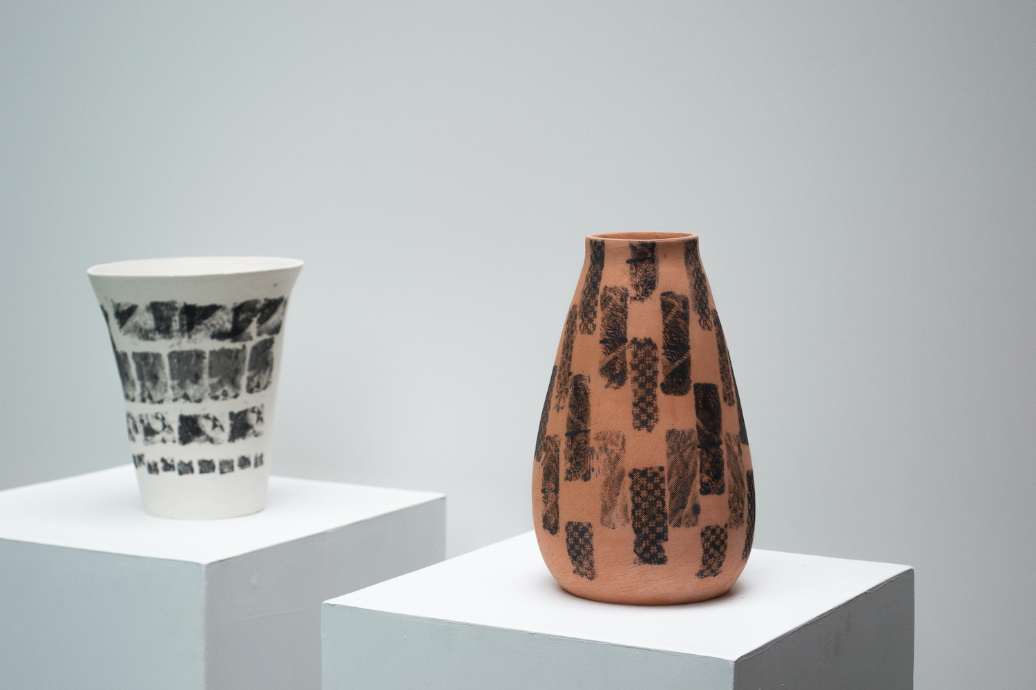 Hannah deJonge / Binding Rows and Ripped Fragments (Detail) - Screen-printed underglaze on stoneware 2020