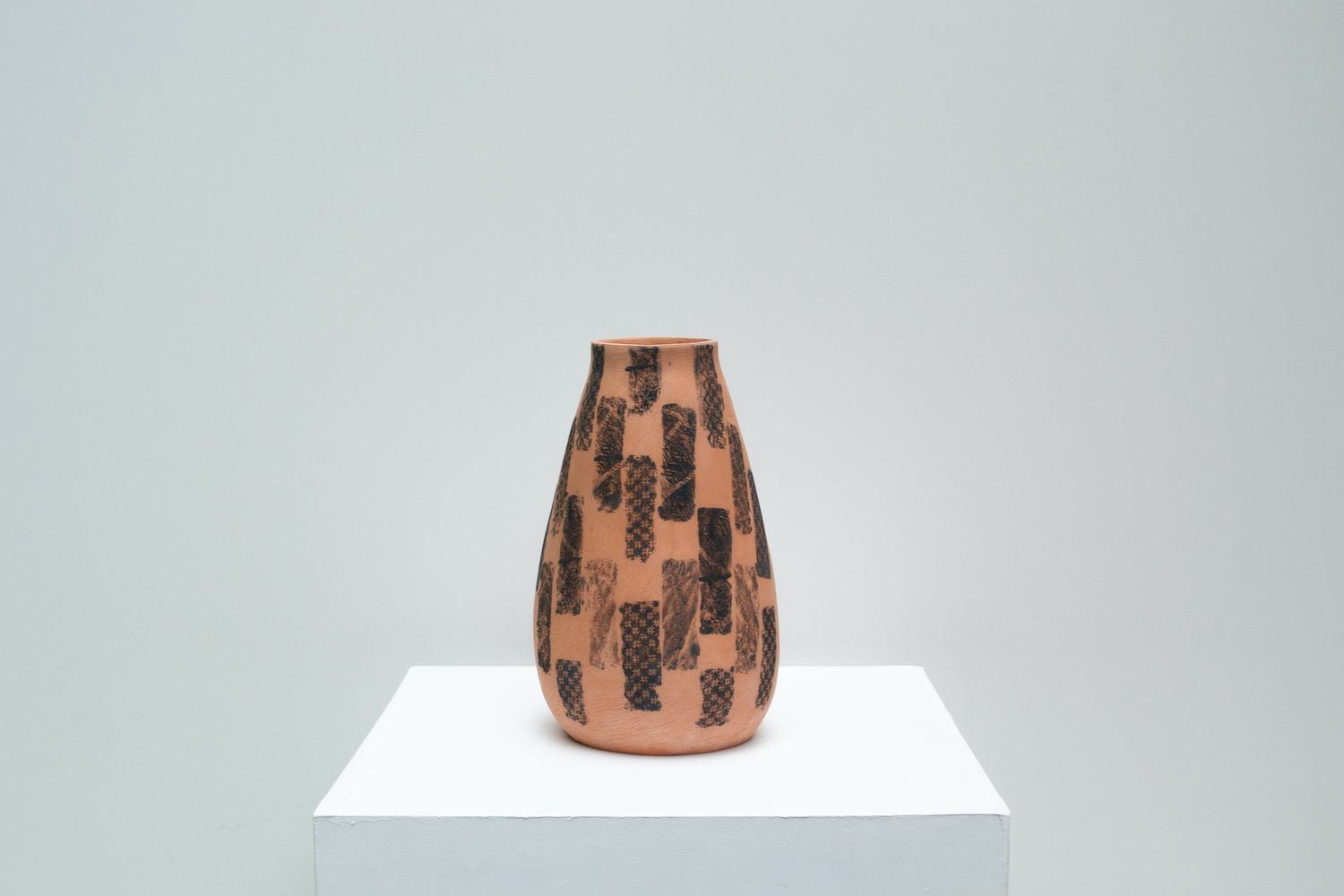 Hannah deJonge / Ripped Fragments (Front View) - Screen-printed underglaze on stoneware 2020
