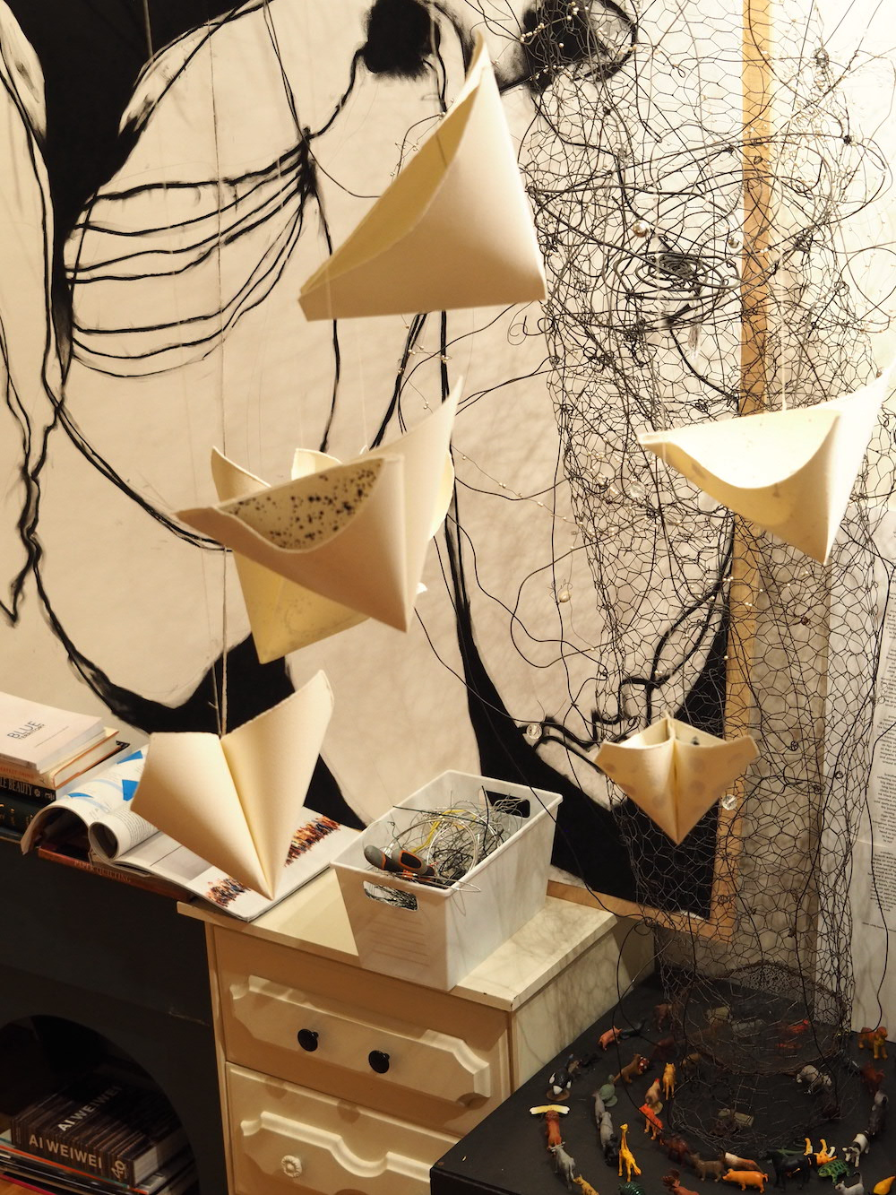 bird cloud testing of hanging forms in studio