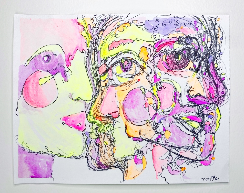 montie, it keeps coming, watercolour, pen and ink