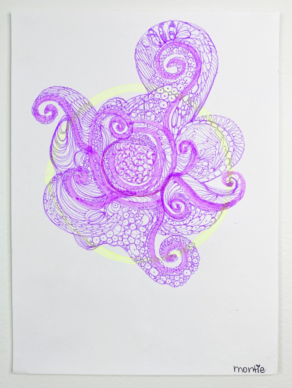 montie, life is the bubbles, pen and ink