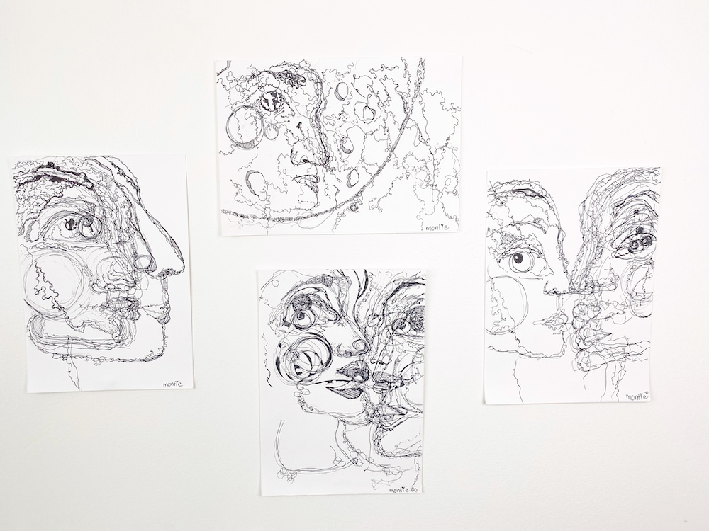 montie, now+then (series), pen and ink