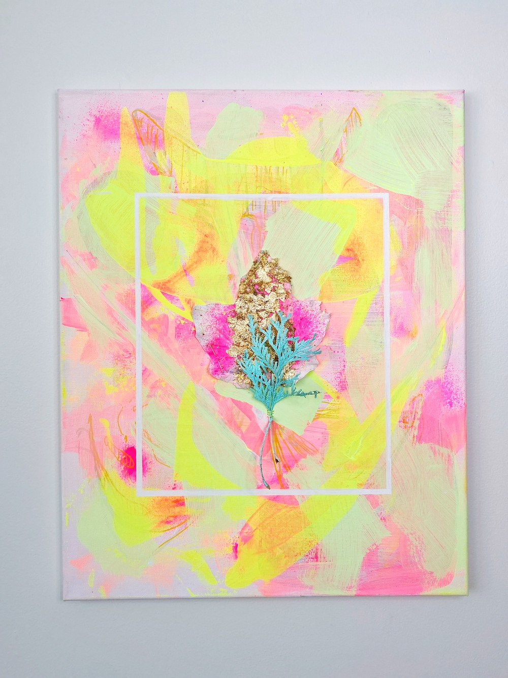 montie, Shock Me! Shock Me! Shock Me!, acrylic paint on canvas and leaves with gold foil