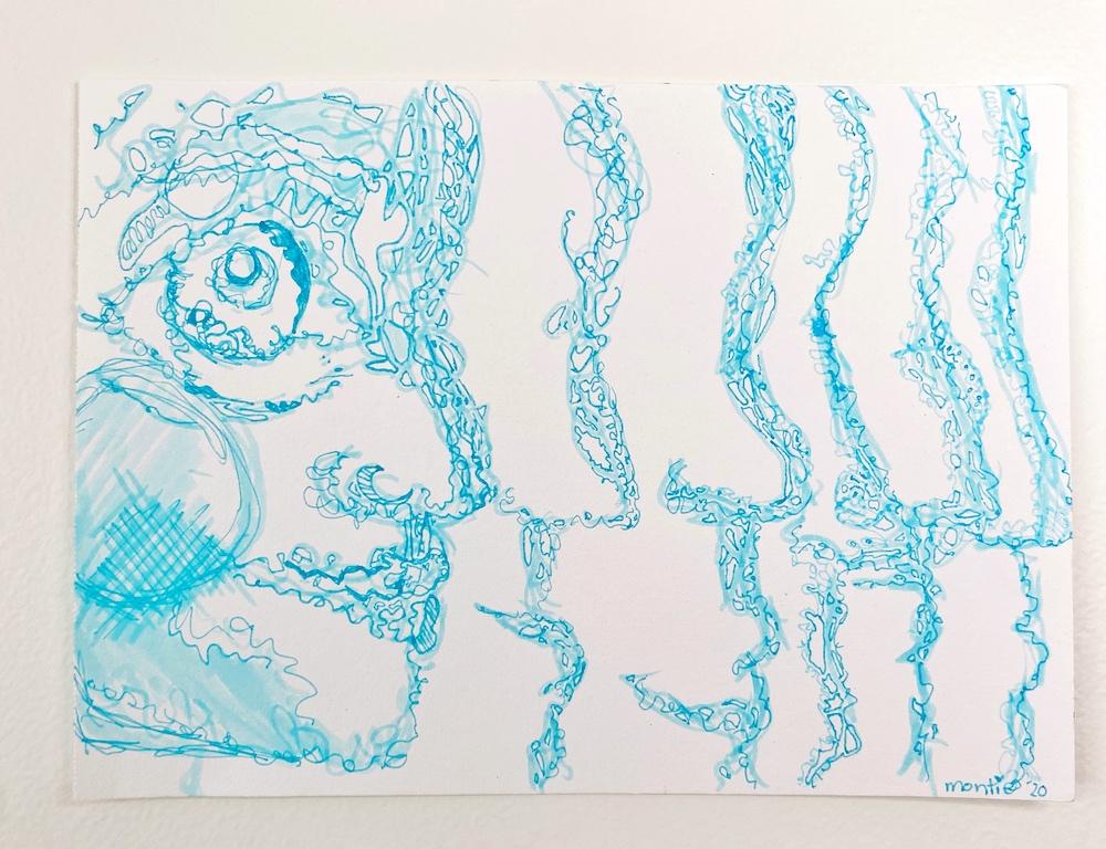 montie, creating infinity, pen and ink
