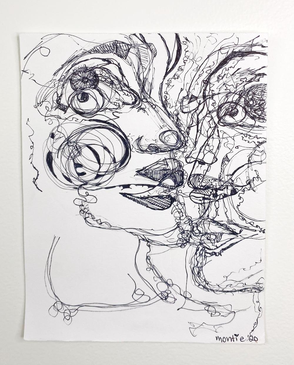 montie, Teeny, pen and ink