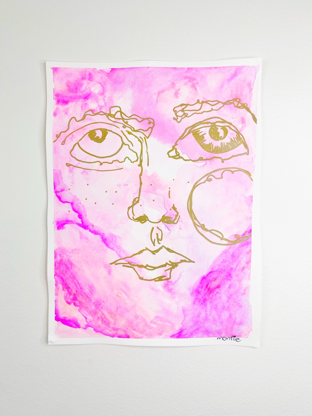 montie, Did I do that, watercolour and acrylic paint