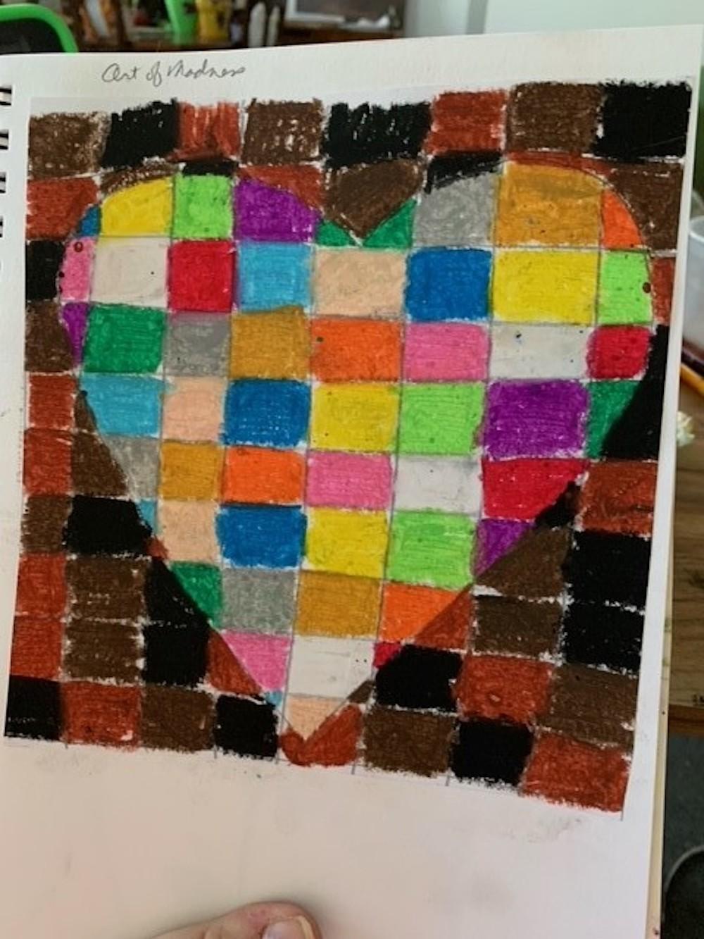 Laura Church, Studying Basquiat, Power, oil pastels