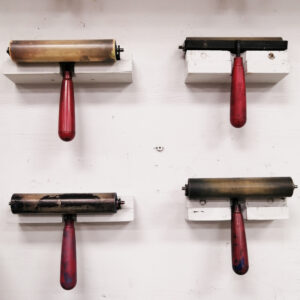 printmaking studio ink rollers