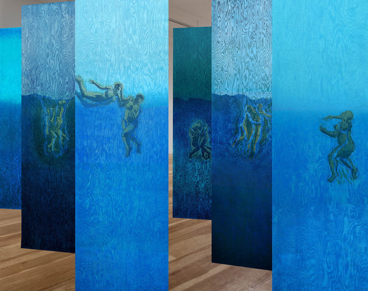 """Pamela Dodds / """"Undertow"""" / Simulated Installation / view 1 / 2021"""