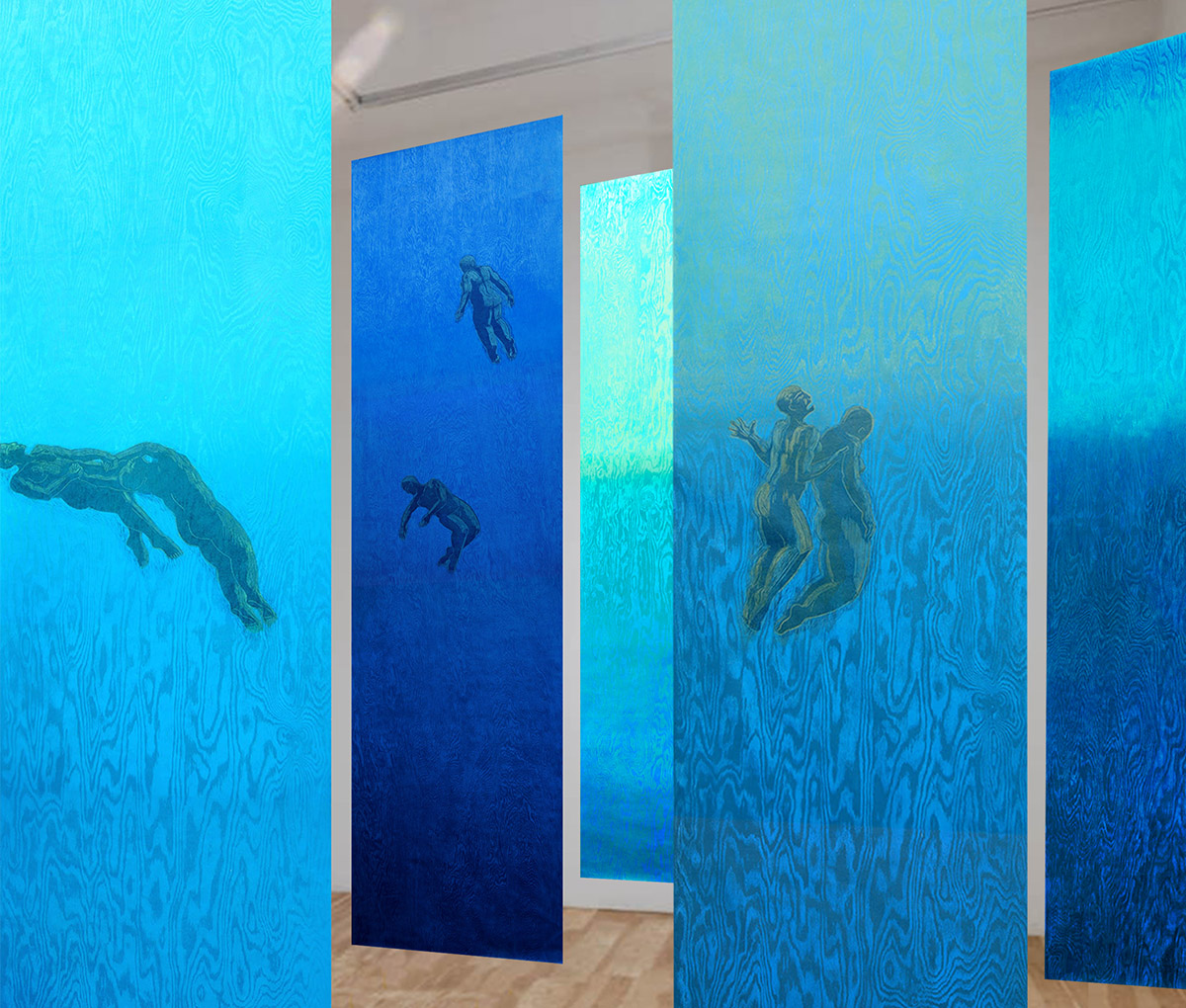 """Pamela Dodds / """"Undertow"""" / Simulated Installation / view 2 / 2021"""