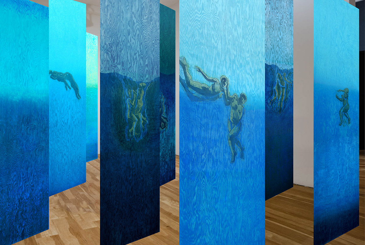 """Pamela Dodds / """"Undertow"""" / Simulated Installation / view 3 / 2021"""