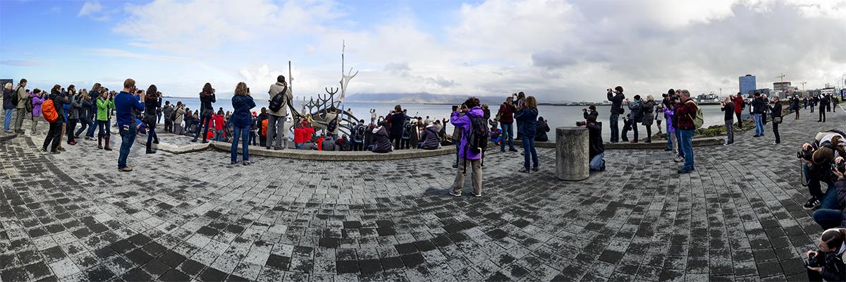 Meghan Krauss / 124 Tourists / 3 x 10 feet / Panoramic Inkjet Print on Vinyl / 2014-2018