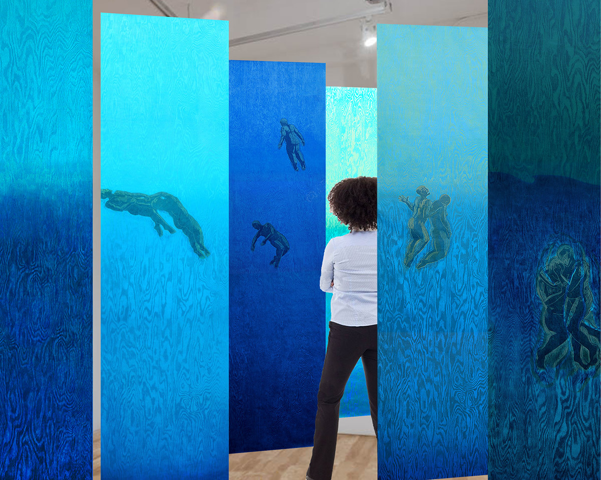 """Pamela Dodds / """"Undertow"""" / Simulated Installation / view 4 / 2021"""
