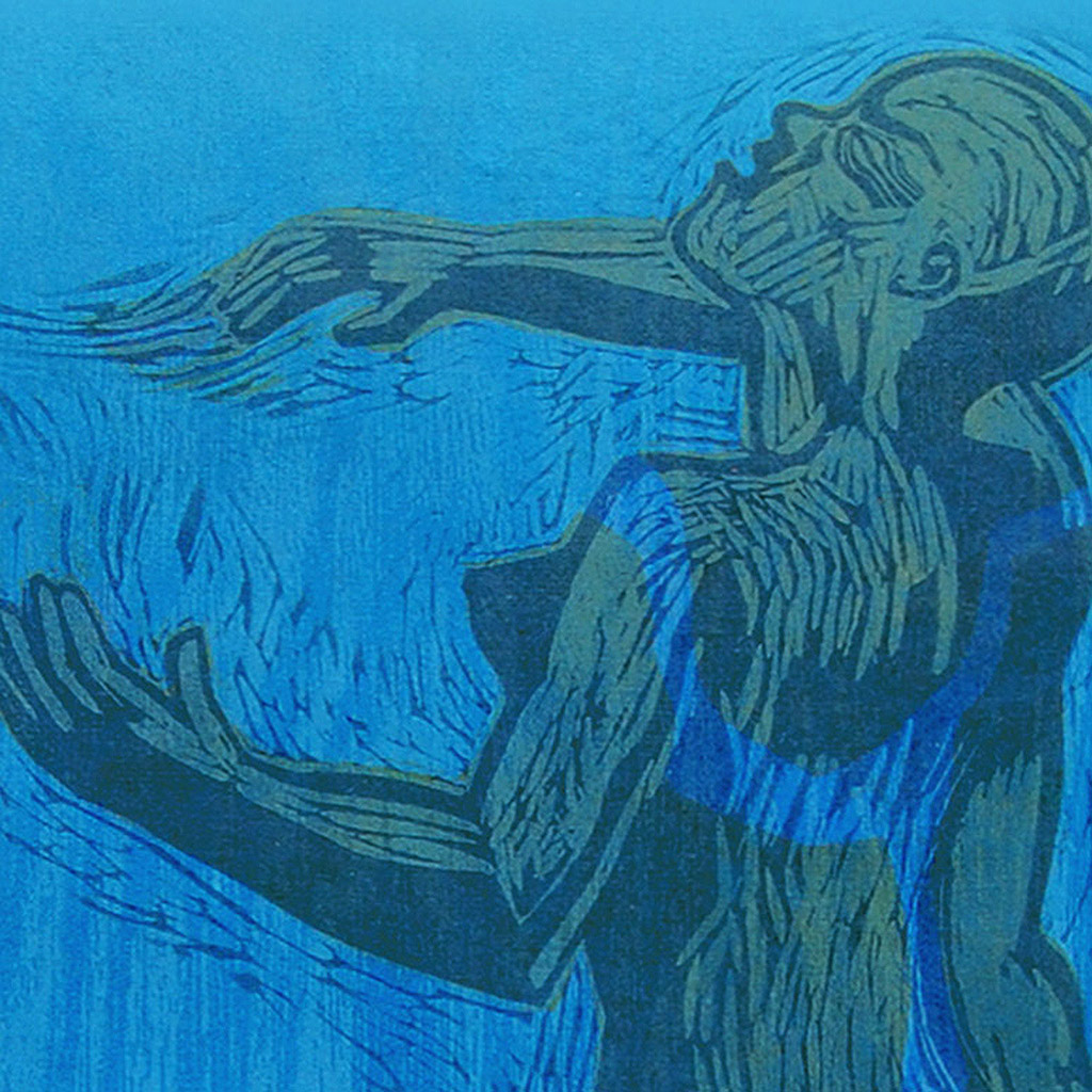 """Pamela Dodds / """"Undertow 1"""" Detail / 96 x 24 in / Relief print and printed woodgrain patterns on Japanese Paper / 2016"""