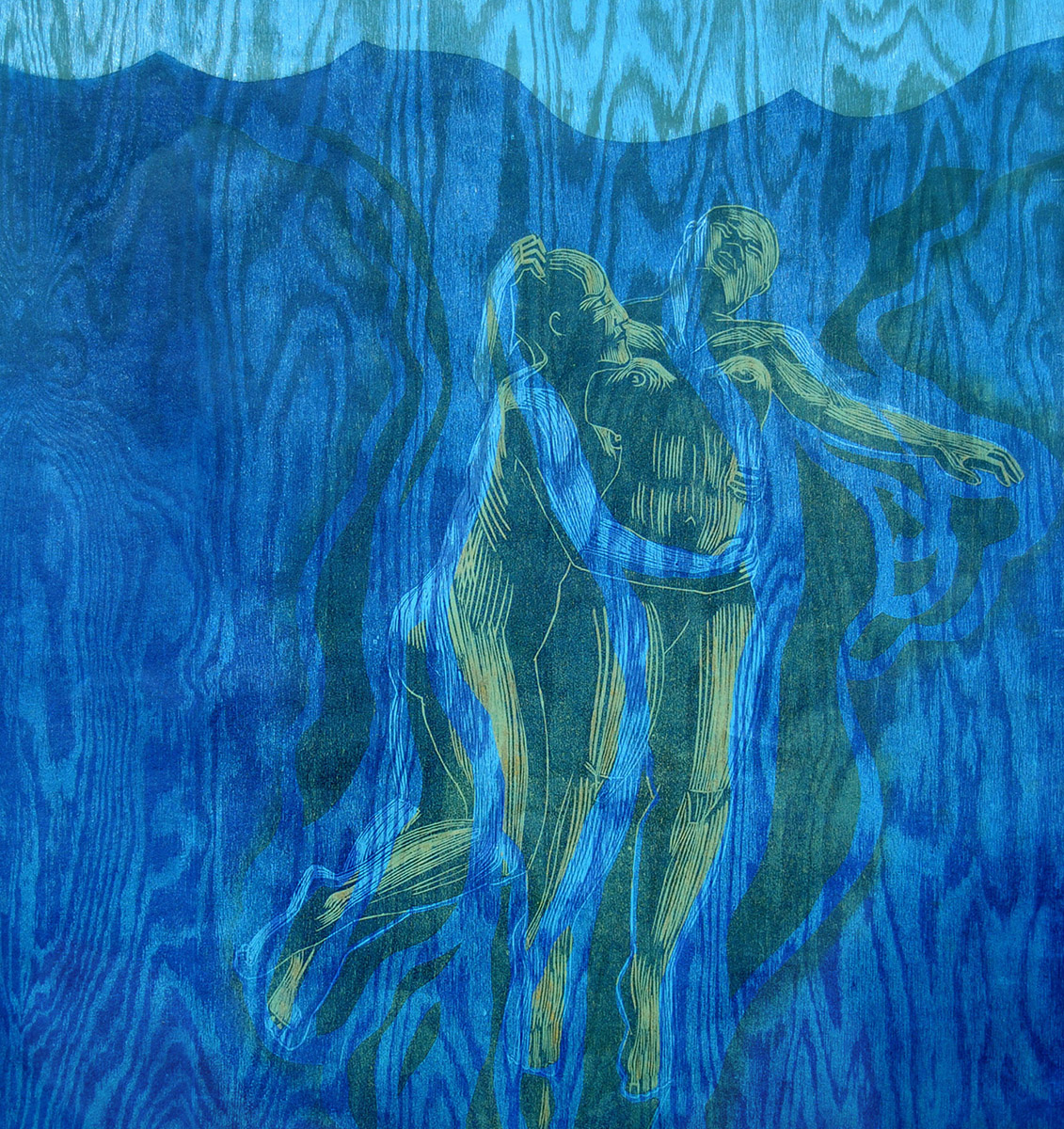 """Pamela Dodds / """"Undertow 3"""" Detail / 96 x 24 in / Relief print and printed woodgrain patterns on Japanese Paper / 2016"""